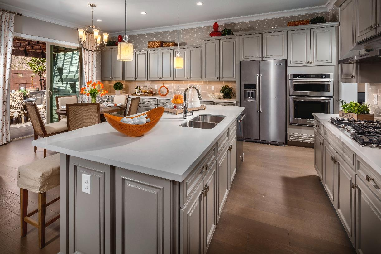 Stylish kitchen with countertop seating at the island