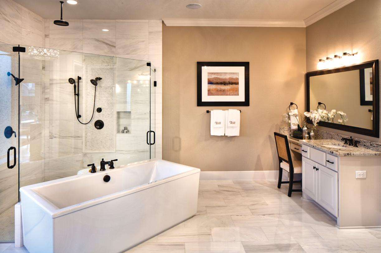 Spa-like primary bath with spacious shower and soaking tub