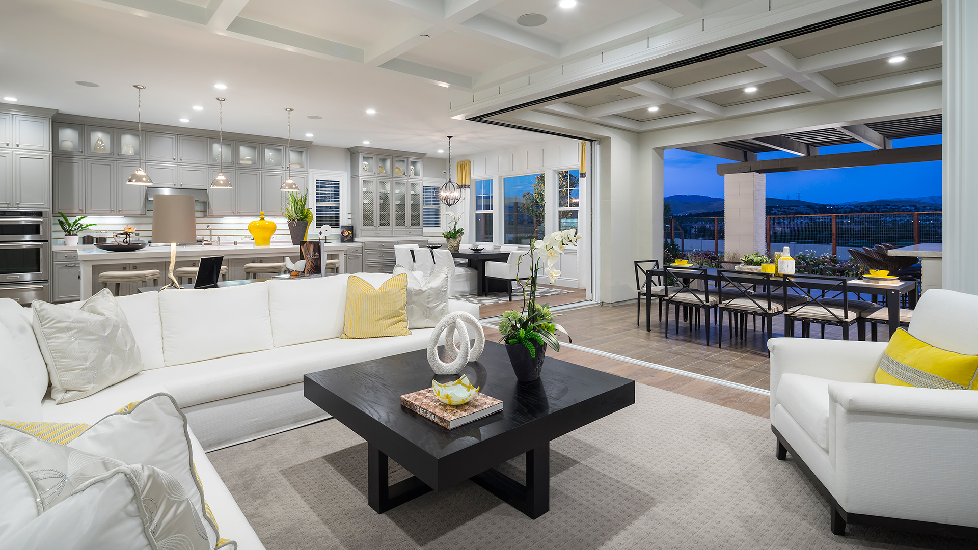 Luxurious interior and exterior living spaces offer the perfect blend of indoor and outdoor living.