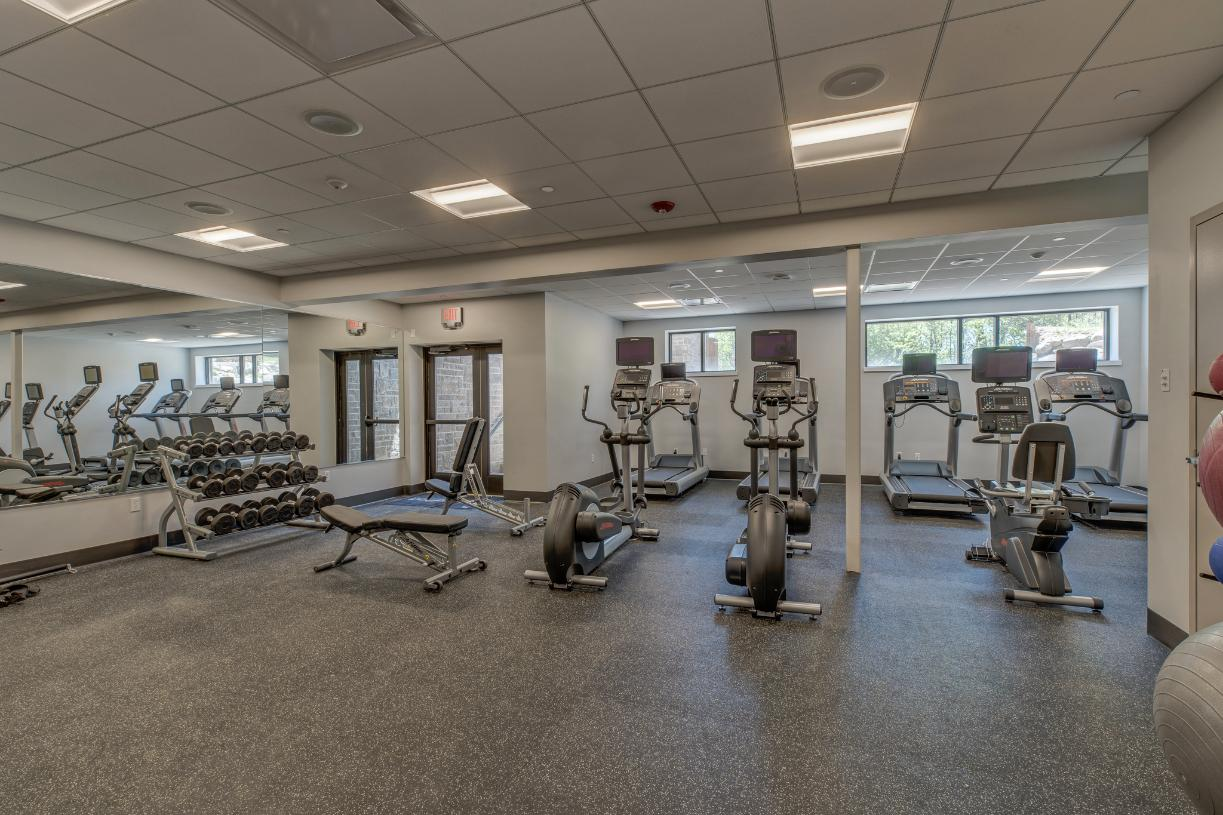 Fitness center offering cardio and weight equipment