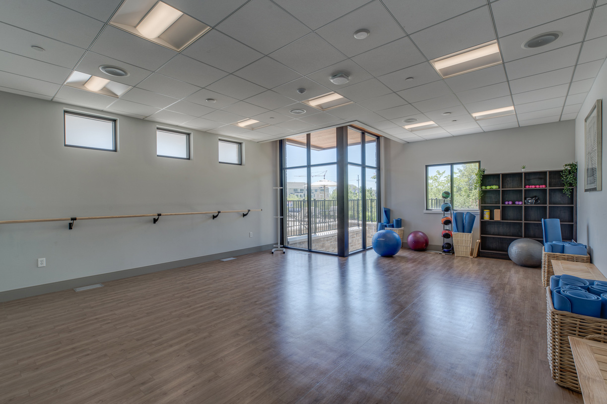 Yoga room with scheduled classes