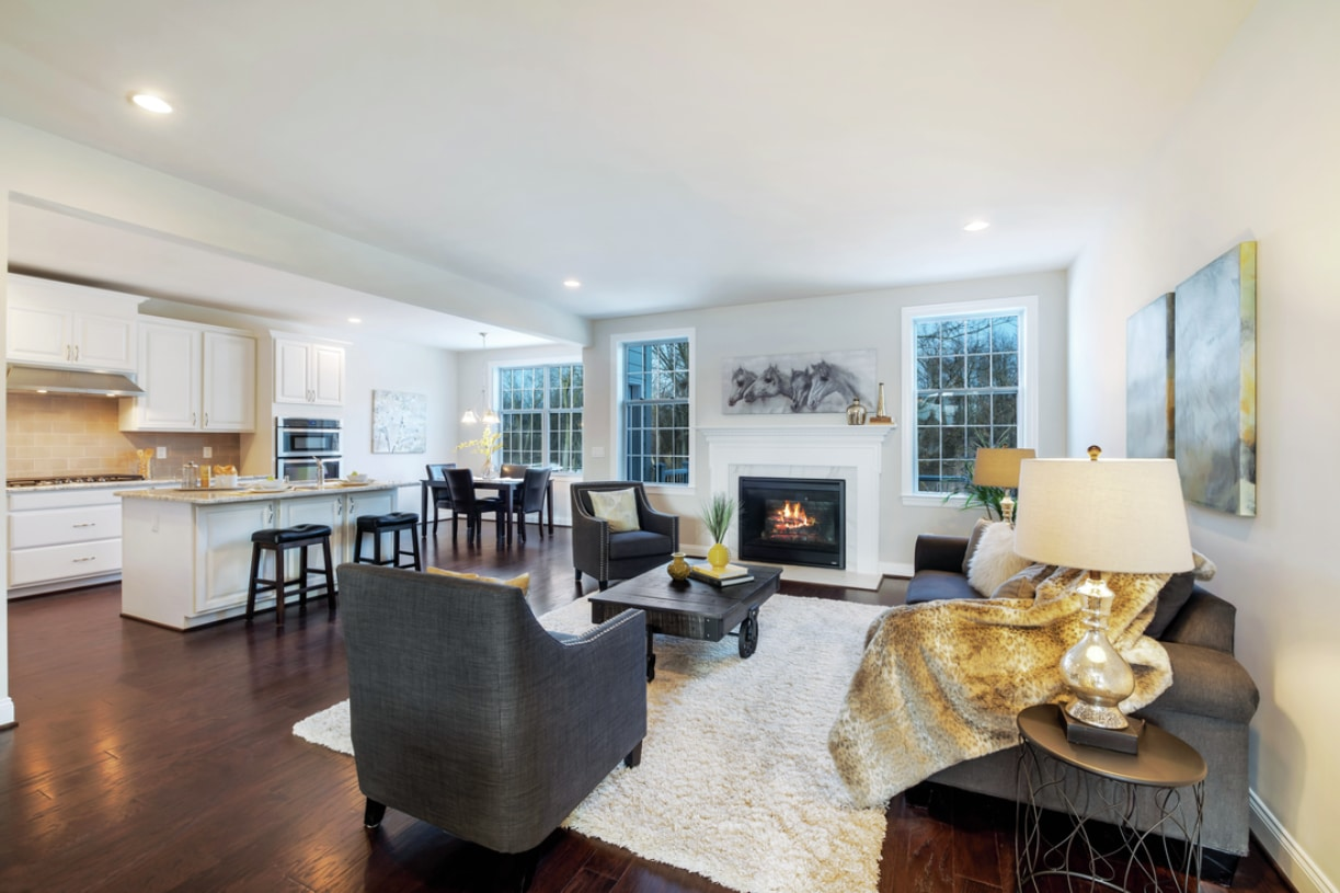 Great room shown with optional cozy fireplace