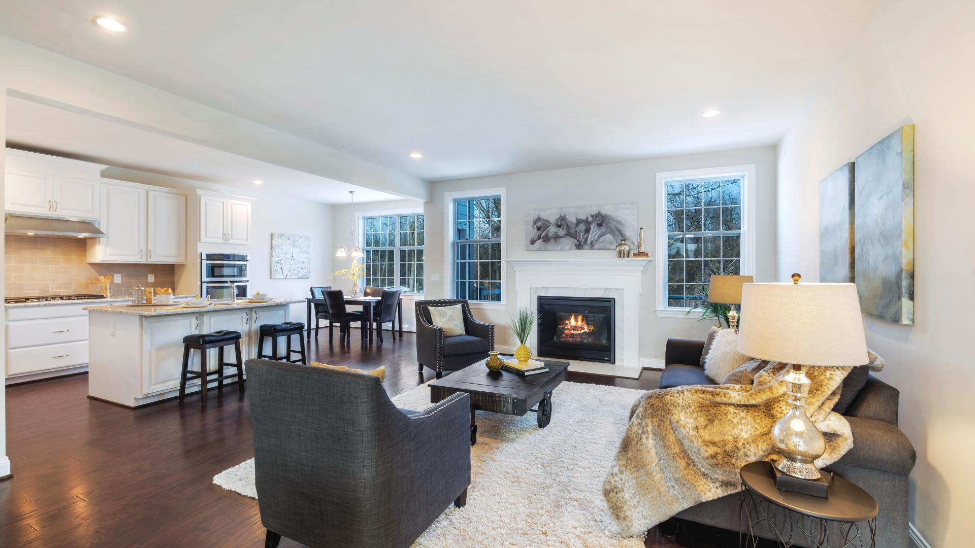 Expansive great room with designer fireplace
