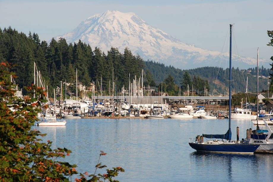 Bayview at Gig Harbor's ideal location grants views of Henderson Bay and the Olympic Mountains.
