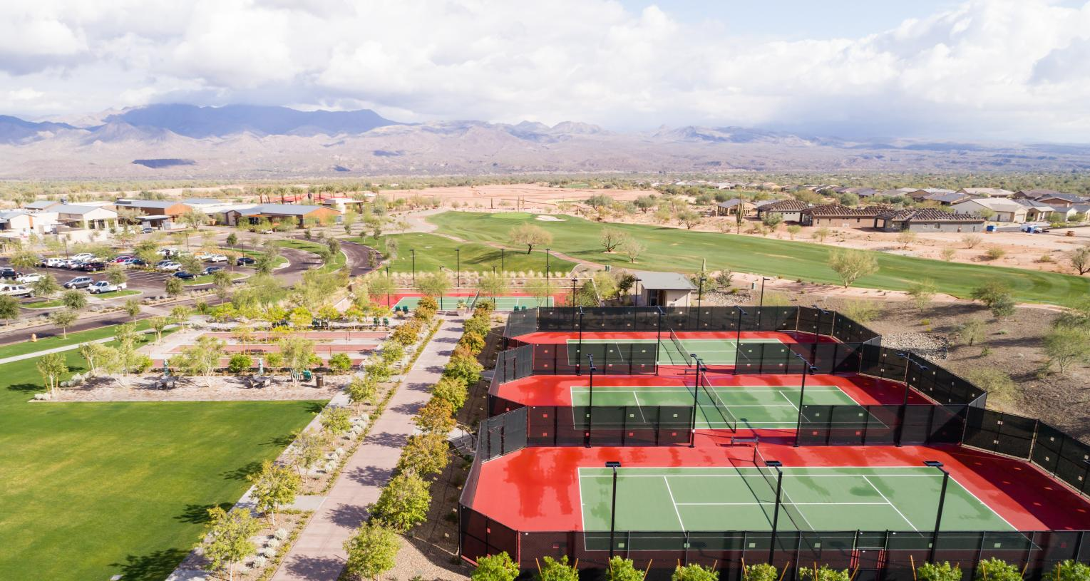 Sports Pavilion featuring tennis, bocce, and pickle ball courts
