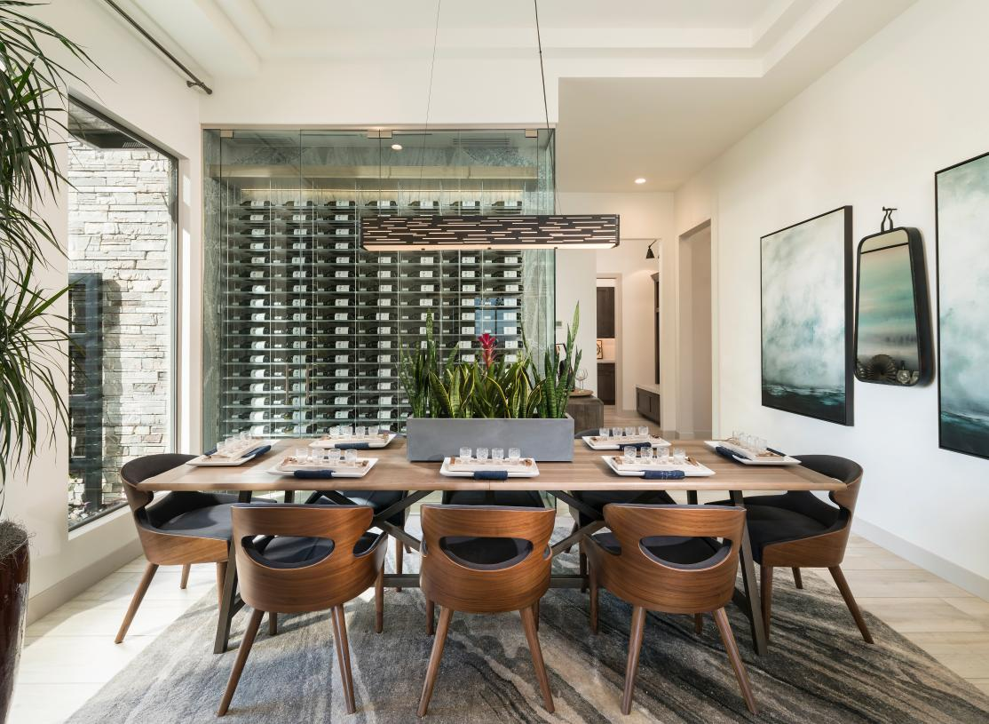 Formal dining with wine room