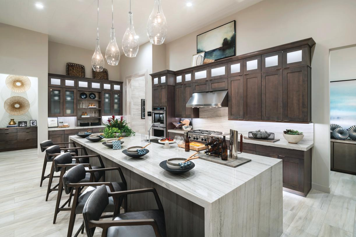 Gourmet kitchen with oversized center island, stainless steel appliances, and large walk-in pantry