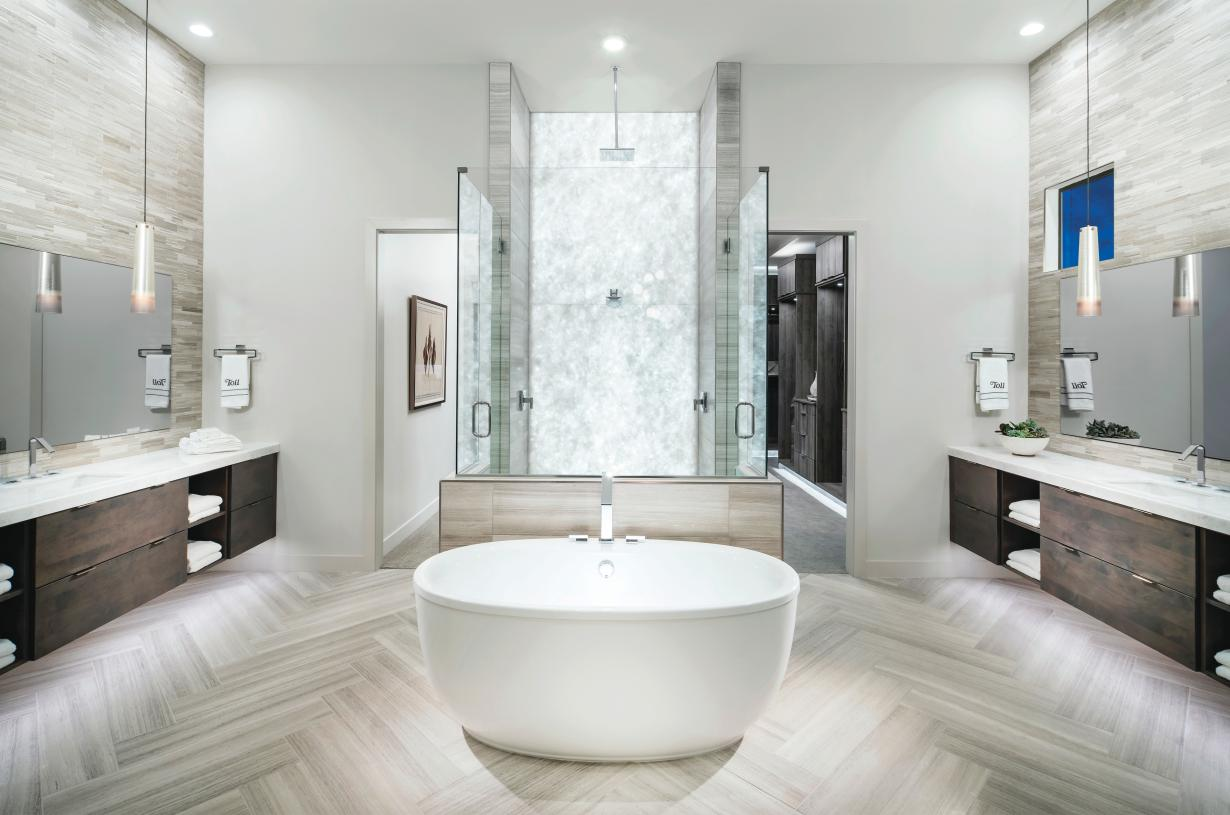 Spa-like primary bath with large soaking tub, dual vanities, and luxe walk-in shower