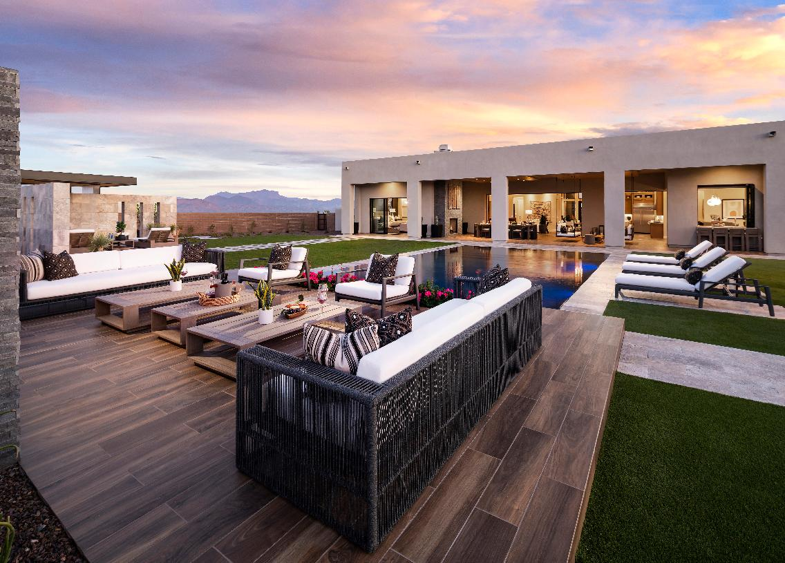 Stunning resort-style backyard with mountain views