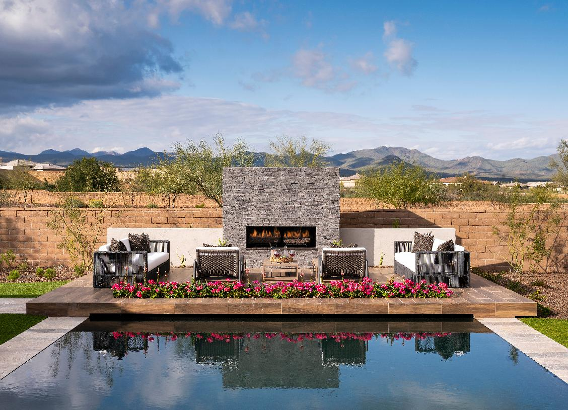 Resort-style pool with sweeping mountain views