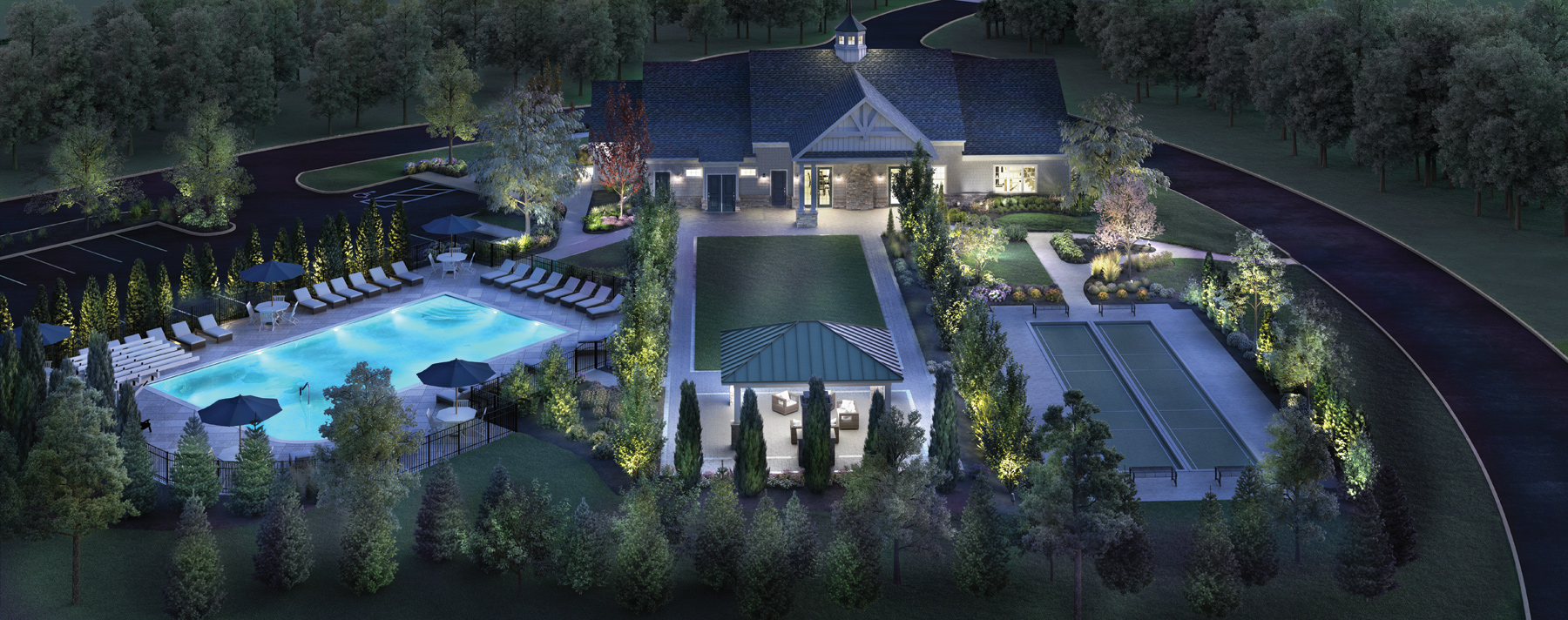 Amenities with swimming pool, bocce courts, and formal lawn with pavilion