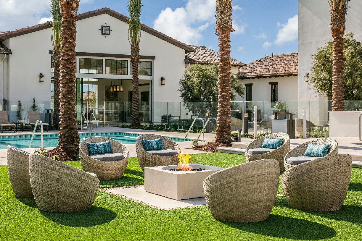 Clubhouse outdoor lounge area with fire pit