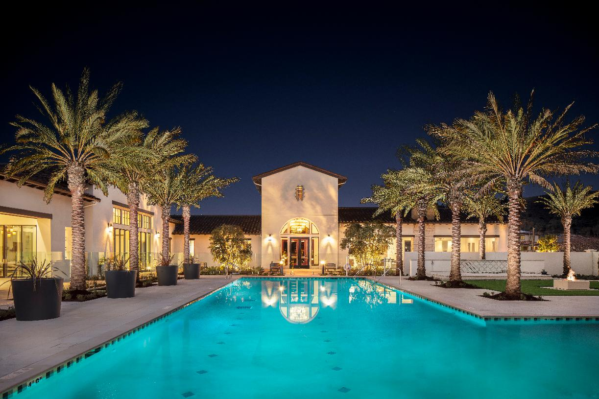 Clubhouse and pool at night