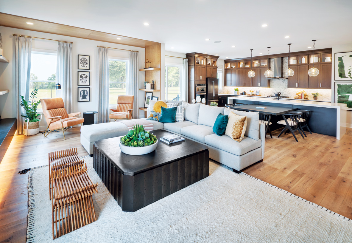 Spacious kitchen opens to dining area and great room