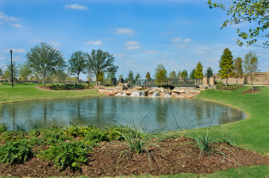 Scenic lakes and trails at Cinco Ranch.