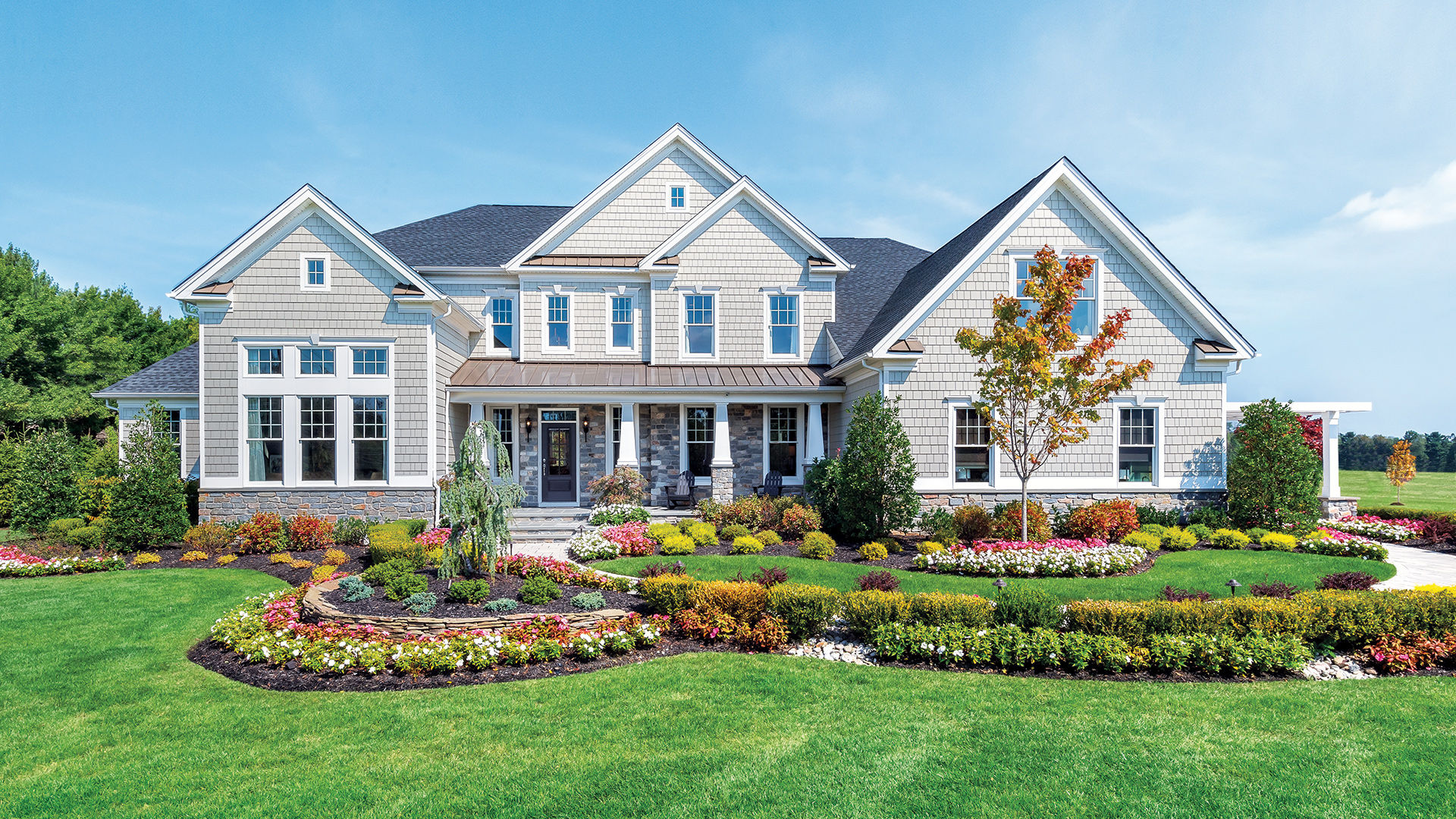 Hampton model home with professional landscaping