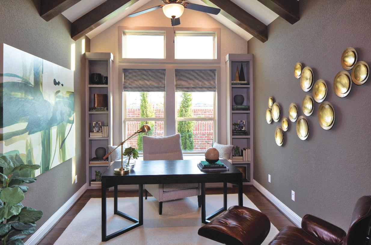 Secluded office with vaulted ceiling