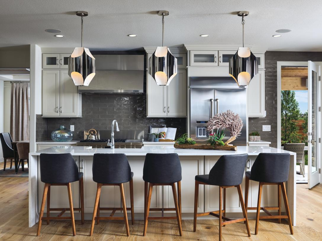 Orion chef's kitchen with island seating