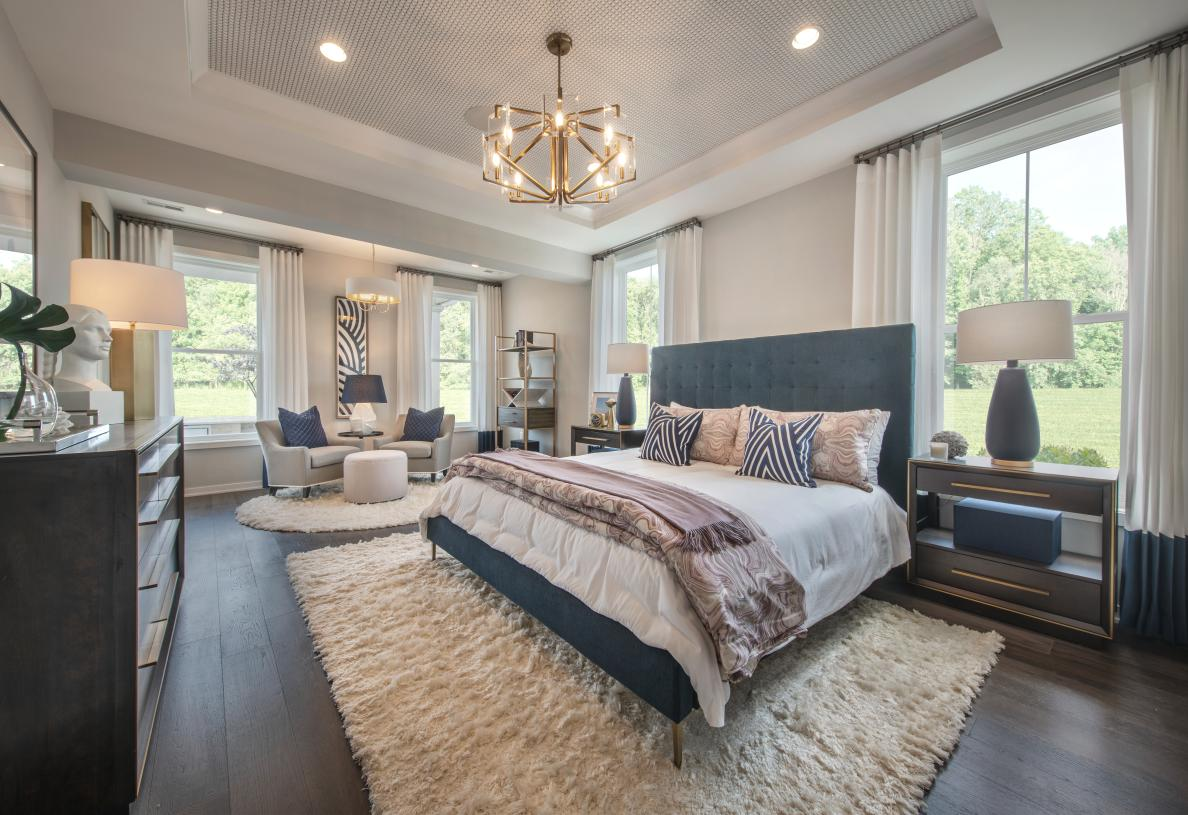 Serene primary bedroom suite with elegant tray ceiling