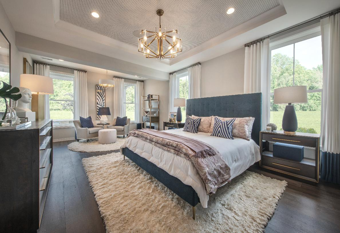 Luxurious first-floor primary bedroom suite with elegant tray ceiling