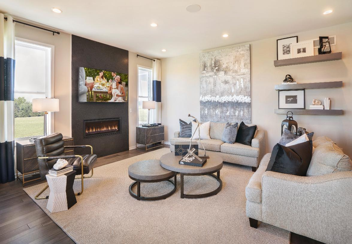 Casual living area with optional fireplace in great room