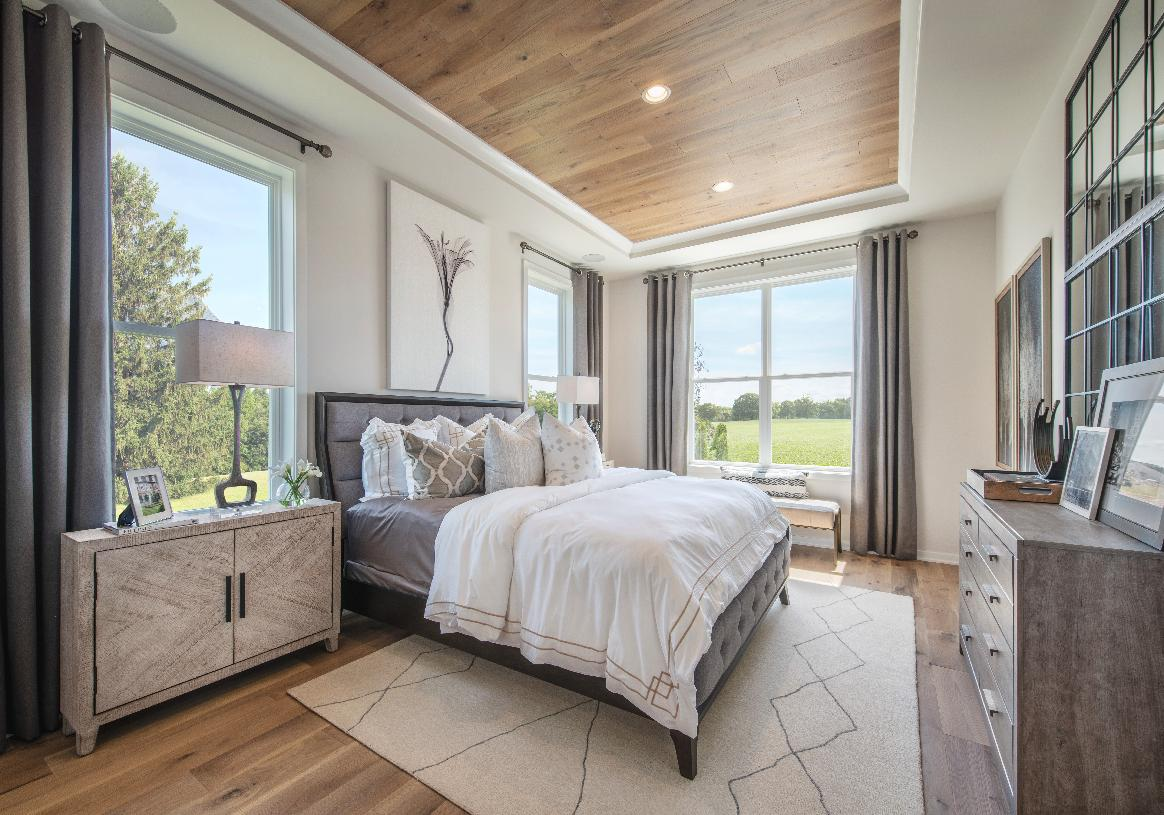 Primary first-floor bedroom suite with tray ceiling detail