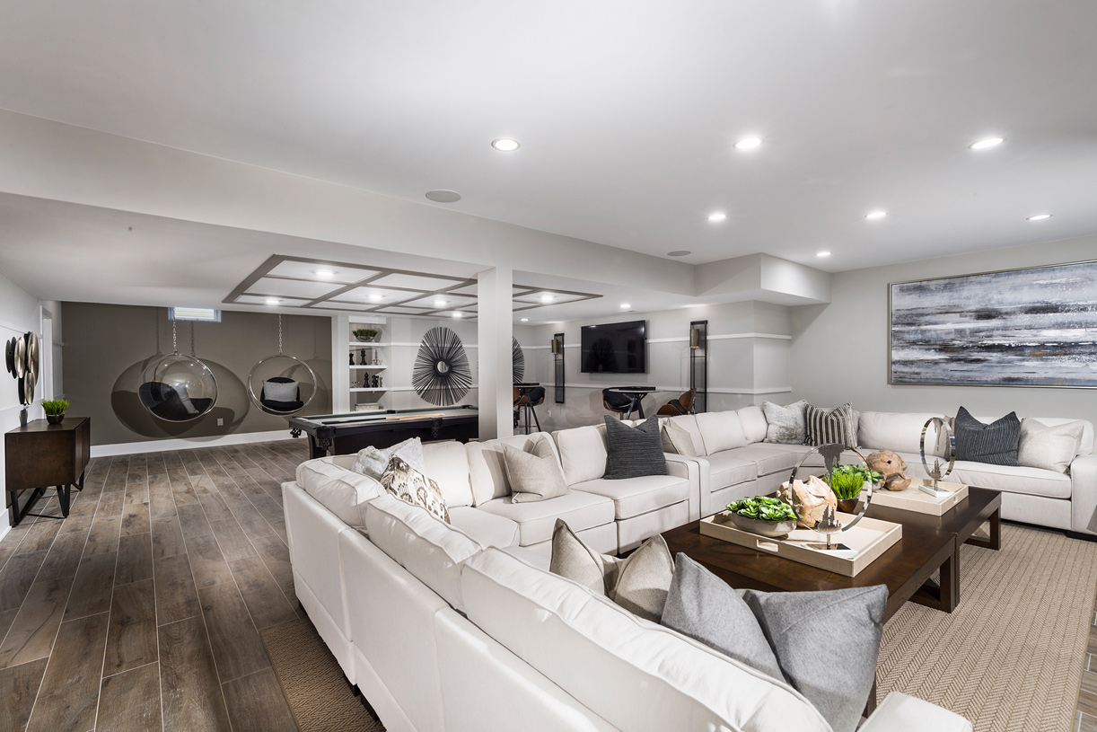 A finished lower level provides additional living space