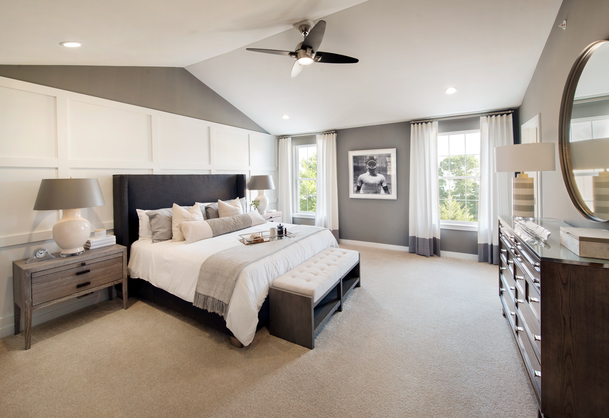 Brookville primary bedroom suite with optional cathedral ceiling