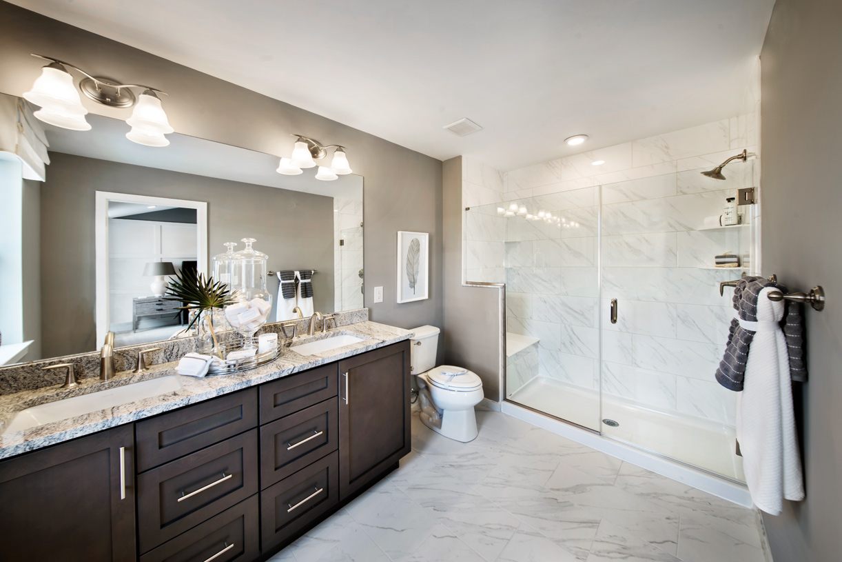 Dual vanity and large shower in the Brookville primary bath
