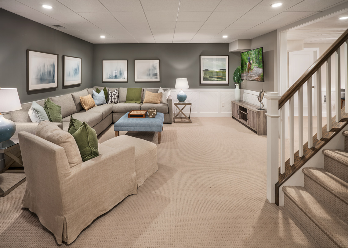 Finished basement provides extra living space