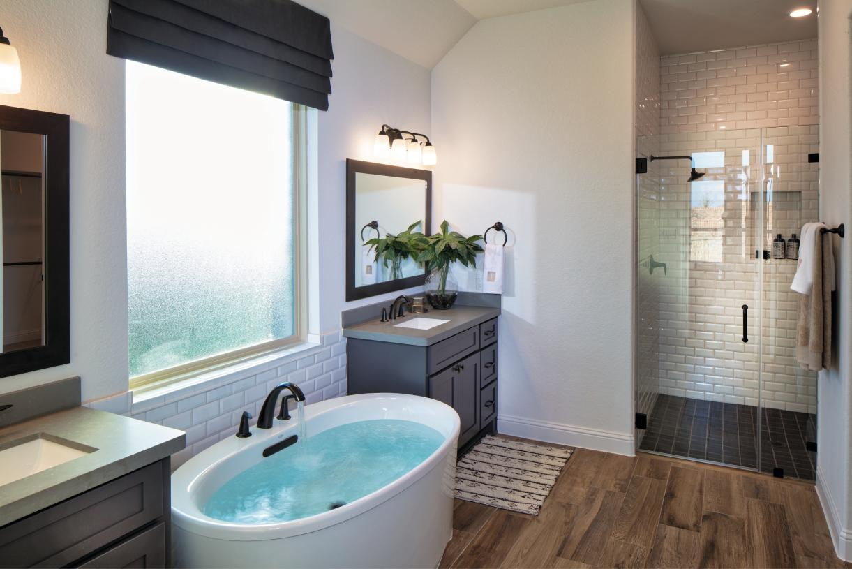Relaxing freestanding tub and separate shower in great room