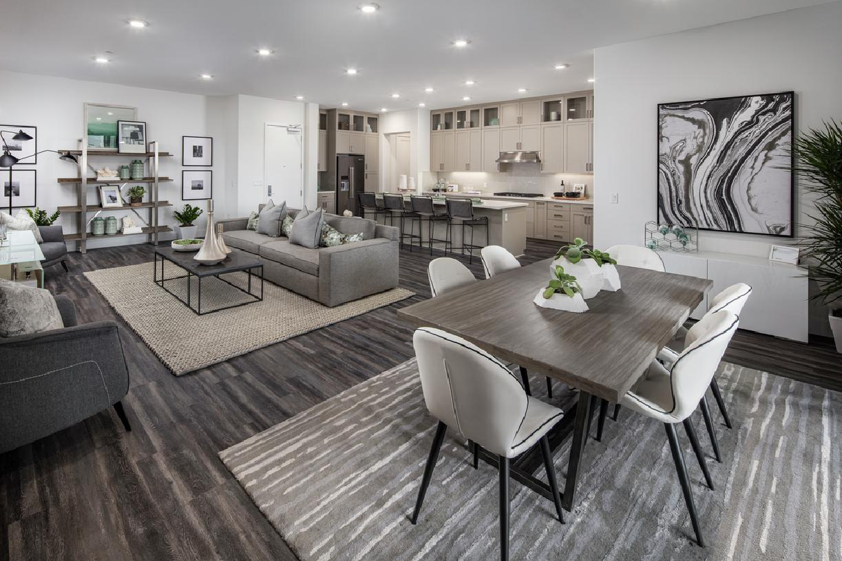 Model home kitchen, living and dining area