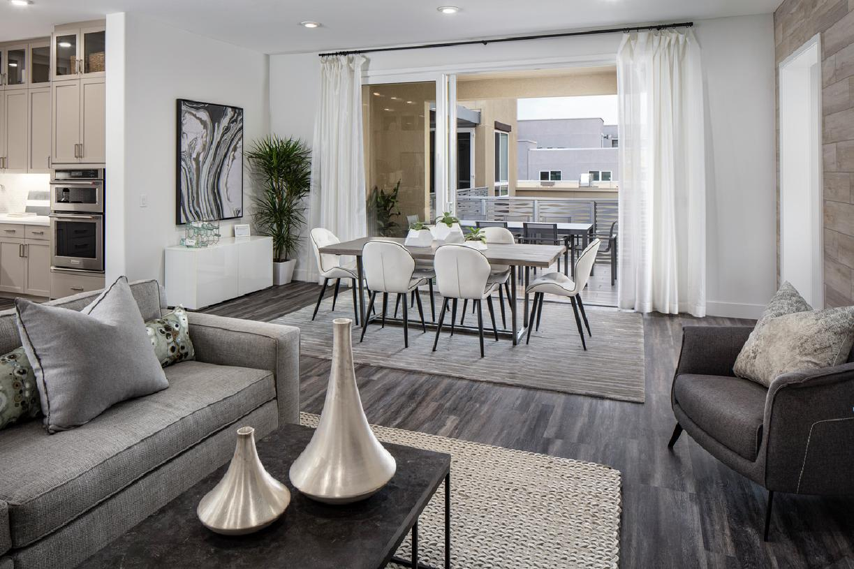 Model home living and dining area