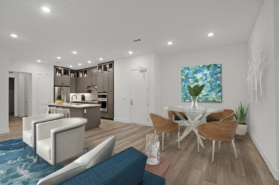 Open Kitchen with Dining and Living Area