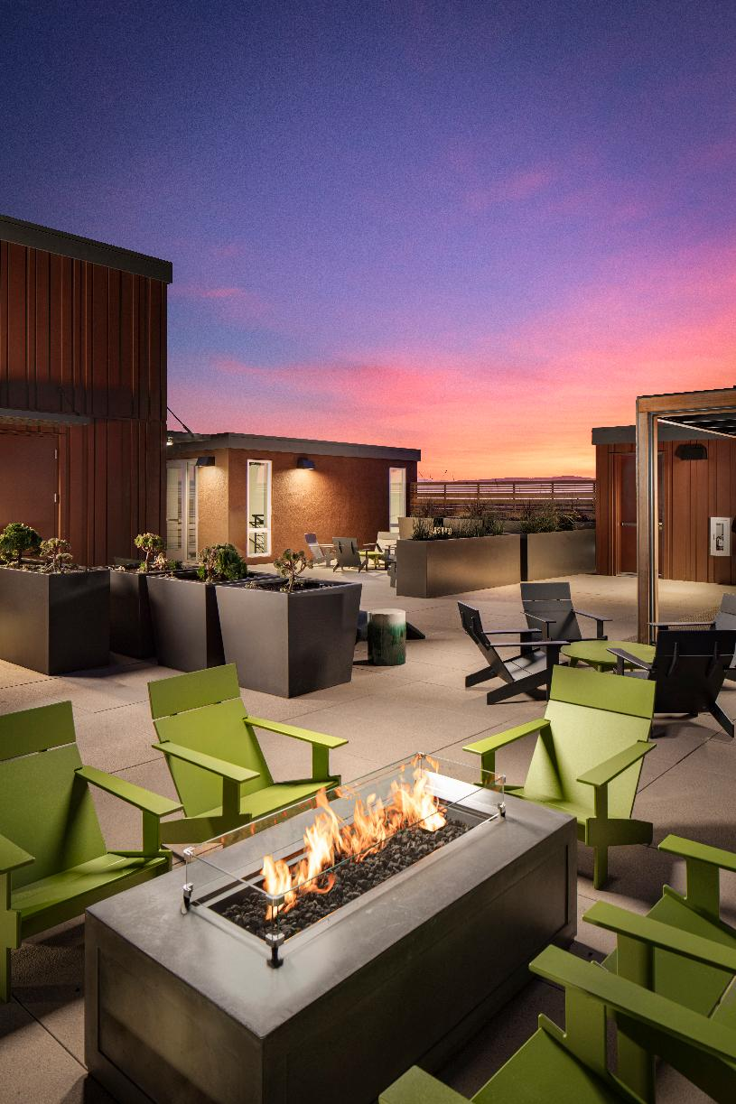 Westbourne Park rooftop common area fire pit