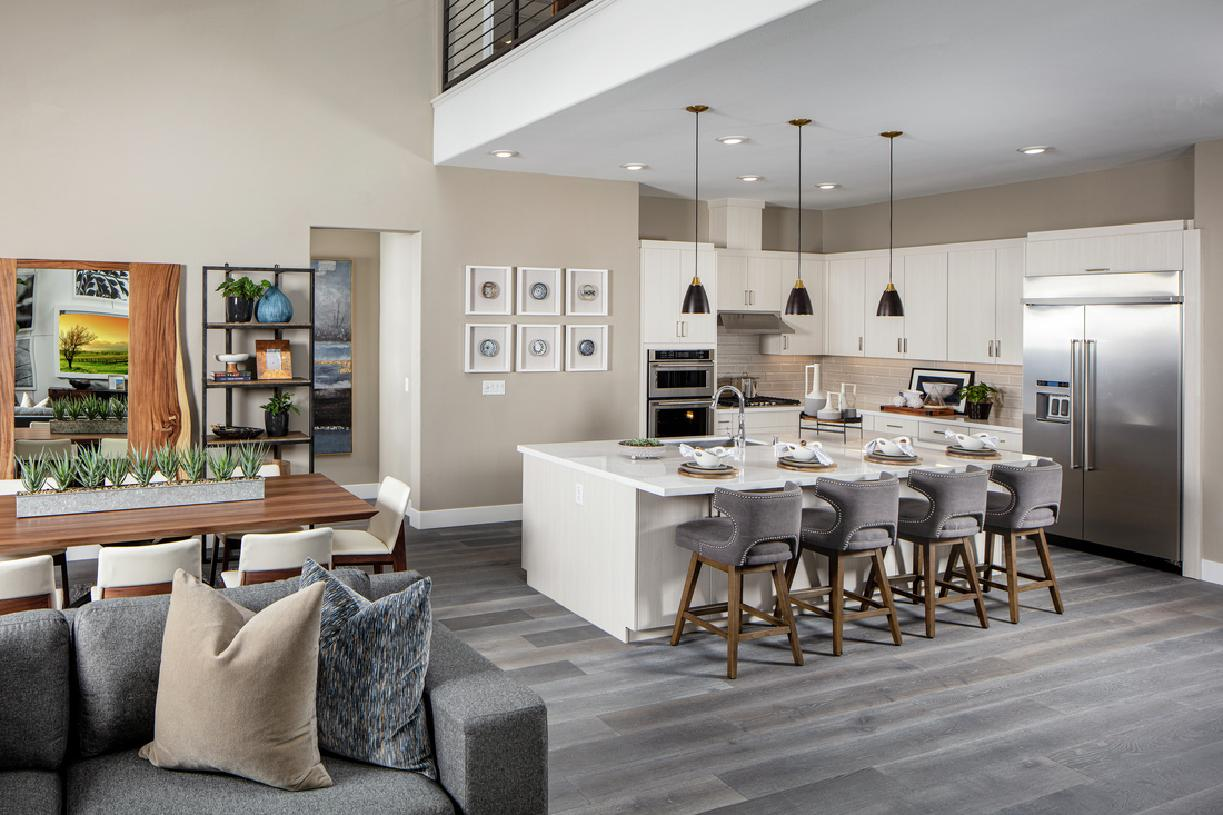 Model home kitchen and breakfast bar