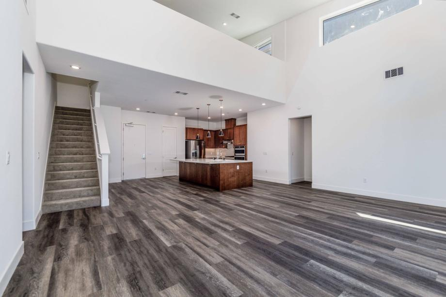 Toll Brothers Chancery Lane Penthouse Main Living Space with Incredible Vaulted Ceilings