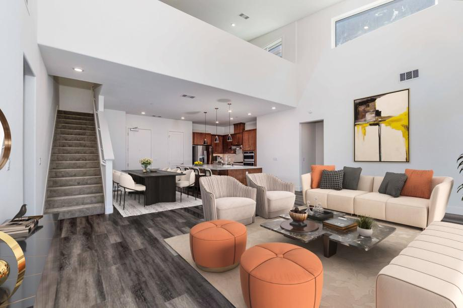 Toll Brothers Chancery Lane at Metro Crossing Penthouse Main Living Space with Incredible Vaulted Ceilings
