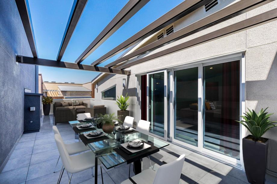 Toll Brothers Chancery Lane at Metro Crossing Secluded Roof Terrace with Fireplace Perfect for Entertaining