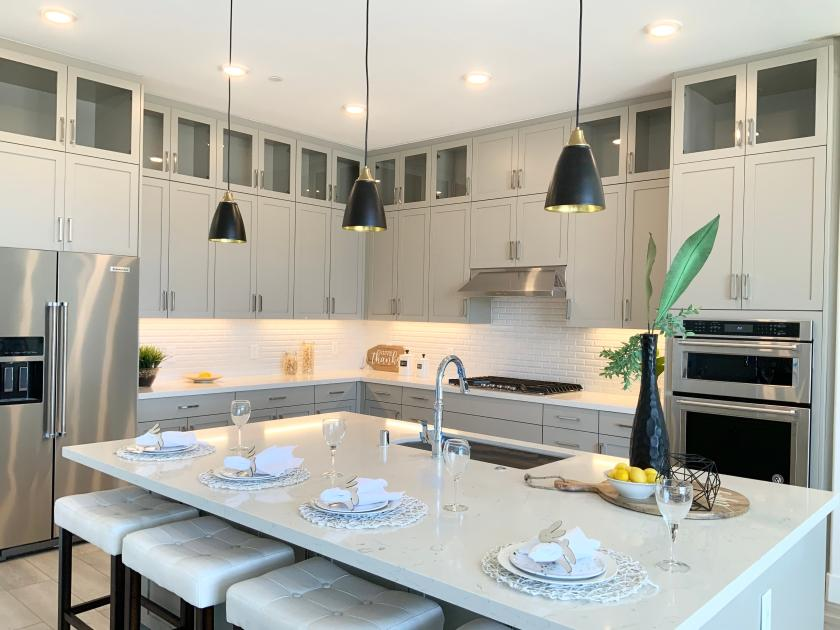 Gourmet kitchen with grand island