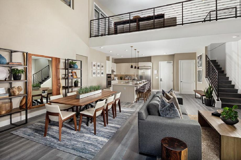 Kitchen, dining, and living area with loft