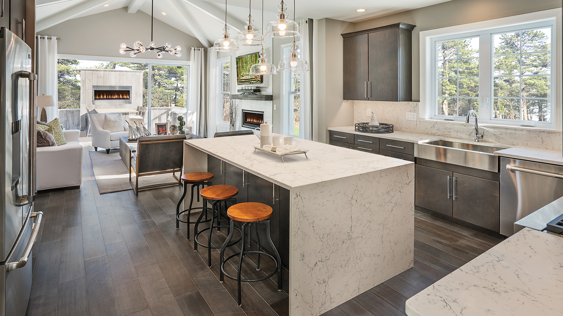 Kitchen opens to great room and outdoor living