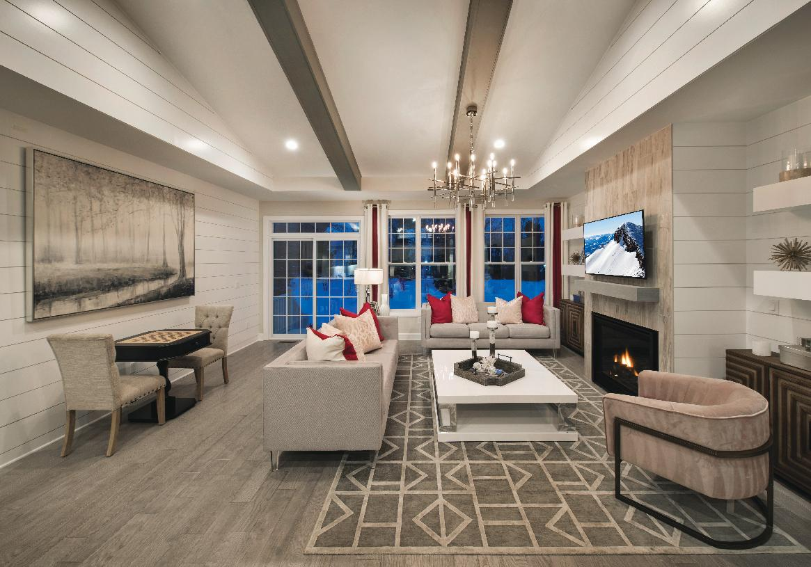 Great room with fireplace and vaulted ceiling