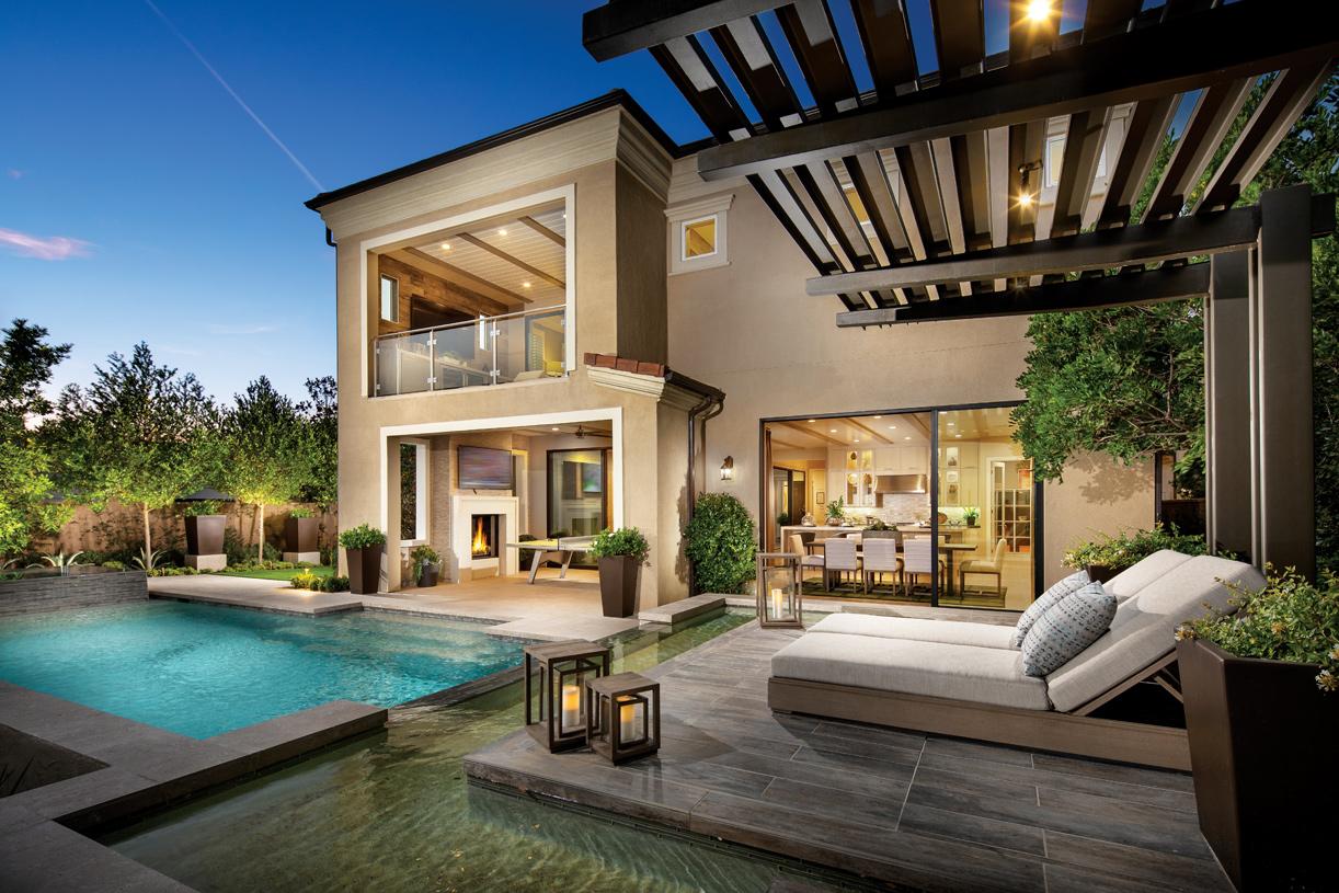 Langham backyard with primary suite deck and luxury indoor/outdoor living space