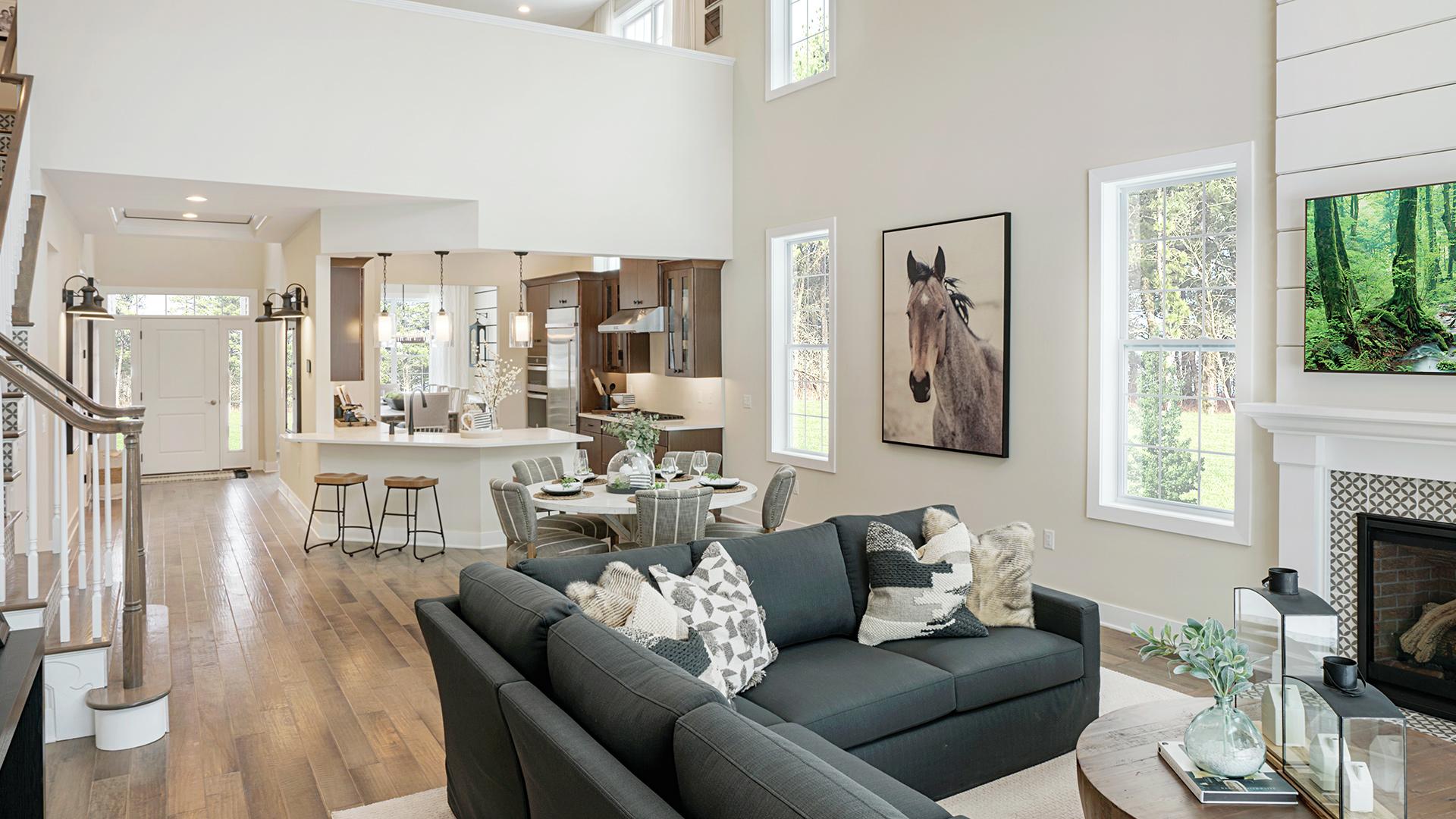 Open concept floor plan with loft