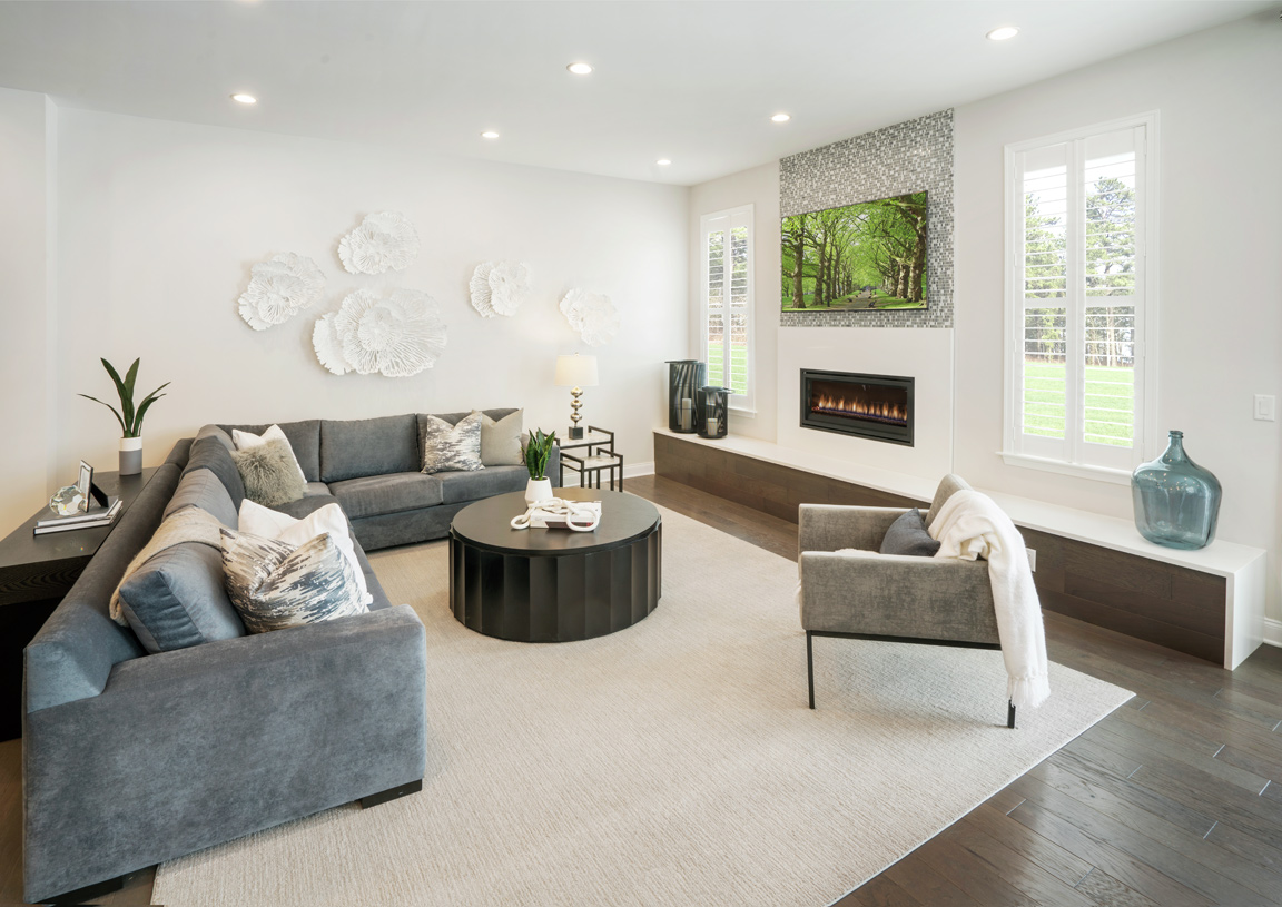 Great room with linear fireplace