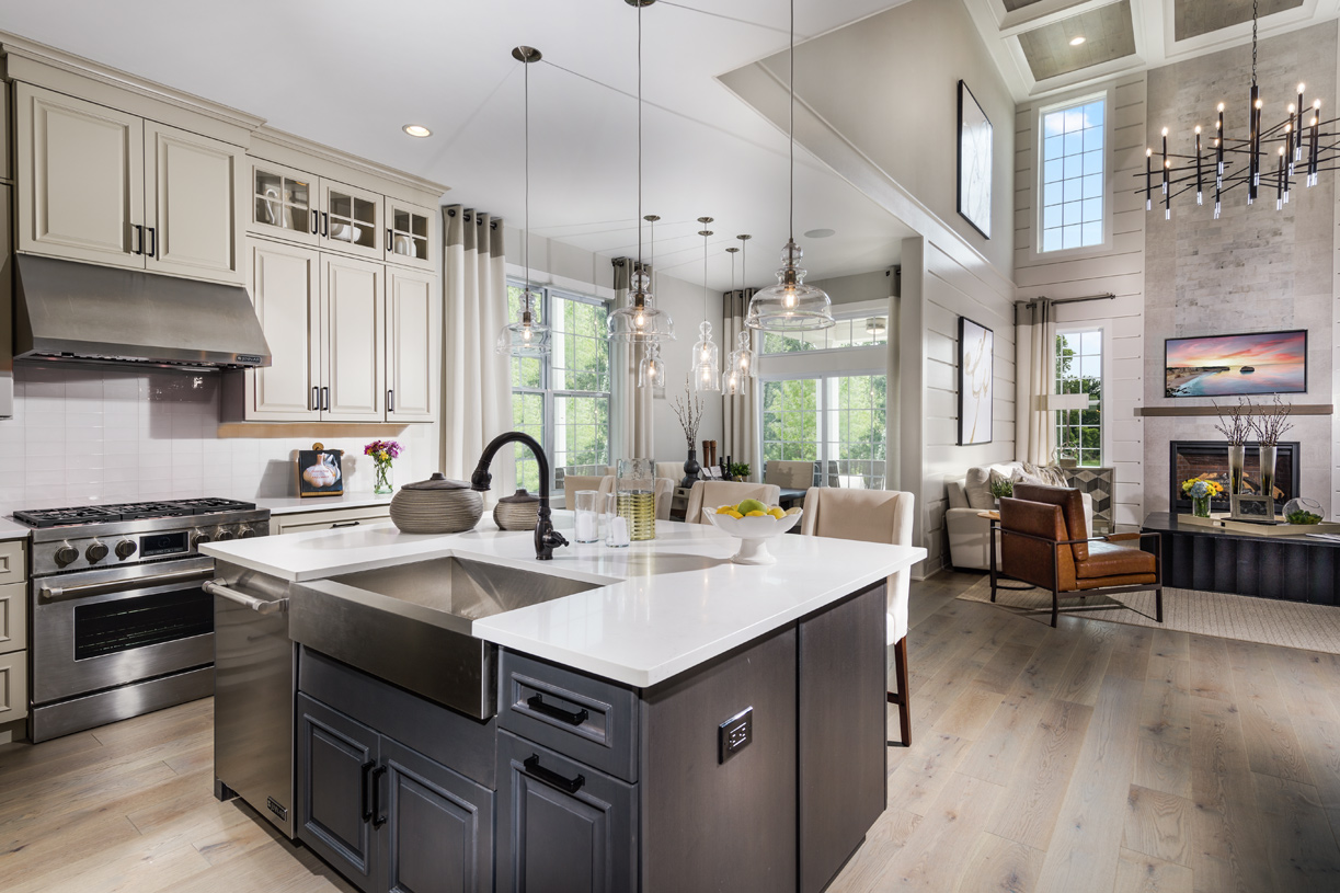 Kitchen with breakfast area opens to great room