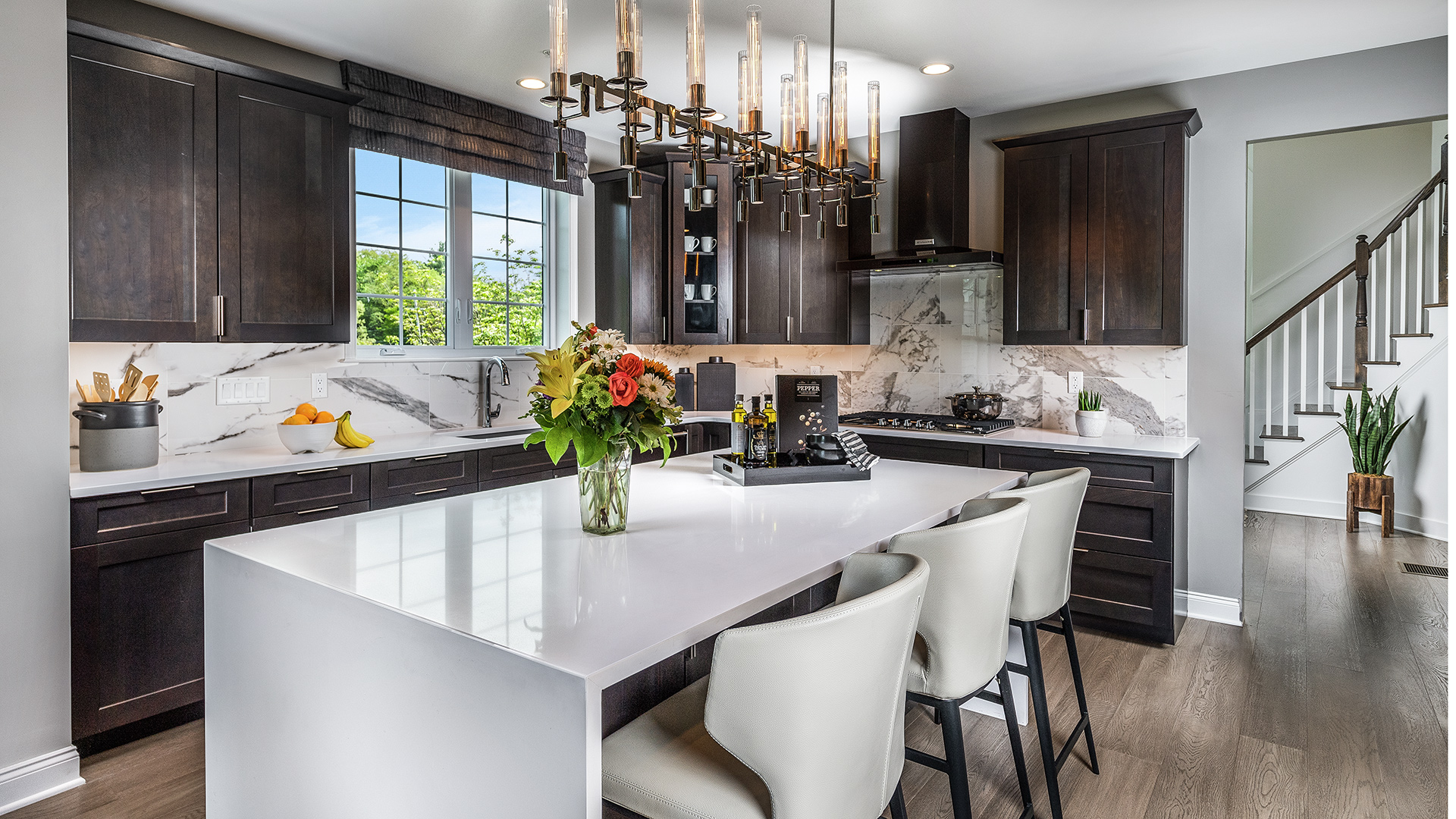 Kitchen with center island and designer finishes