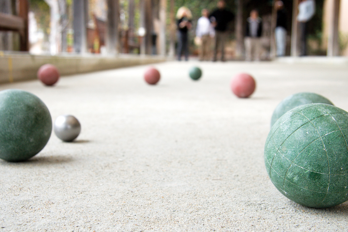 Have fun with your neighbors on the bocce ball court