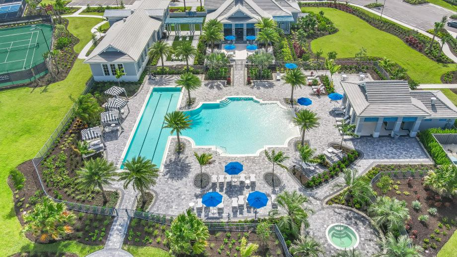 Aerial view of The Lagoon at The Pier House, the community amenity center